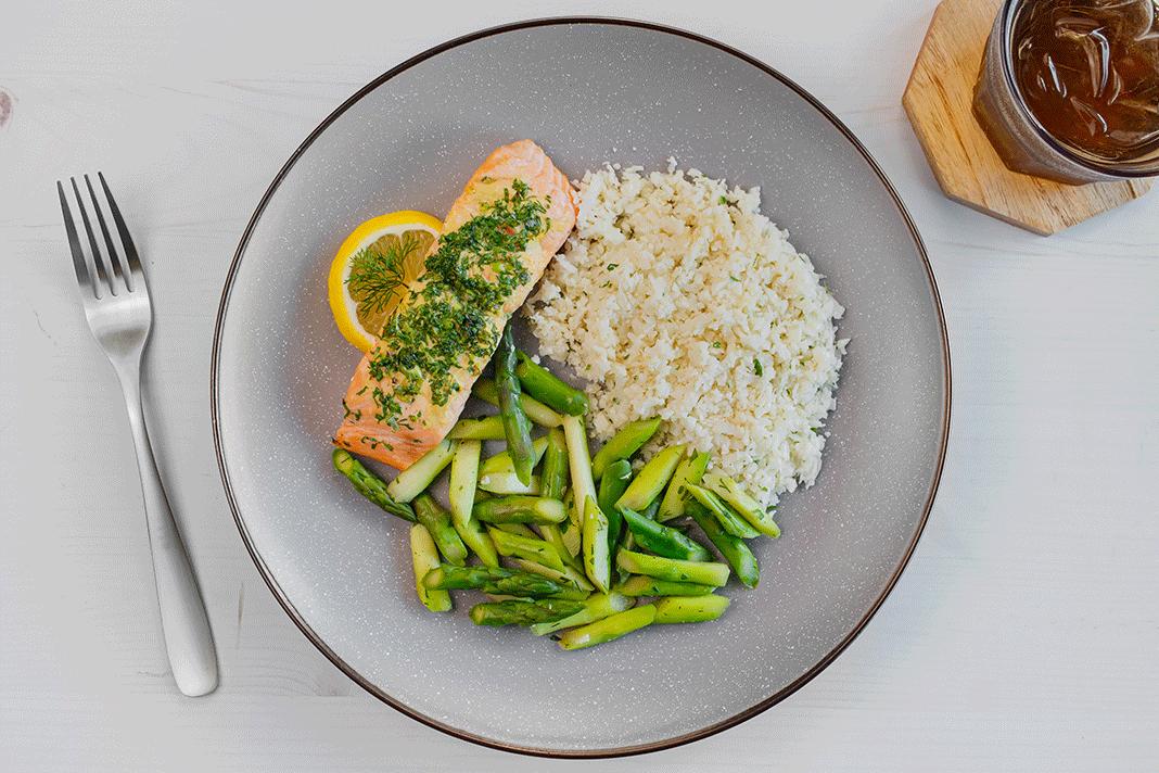 Asparagus, Lemon Cauliflower Rice, Herb-Roasted Salmon