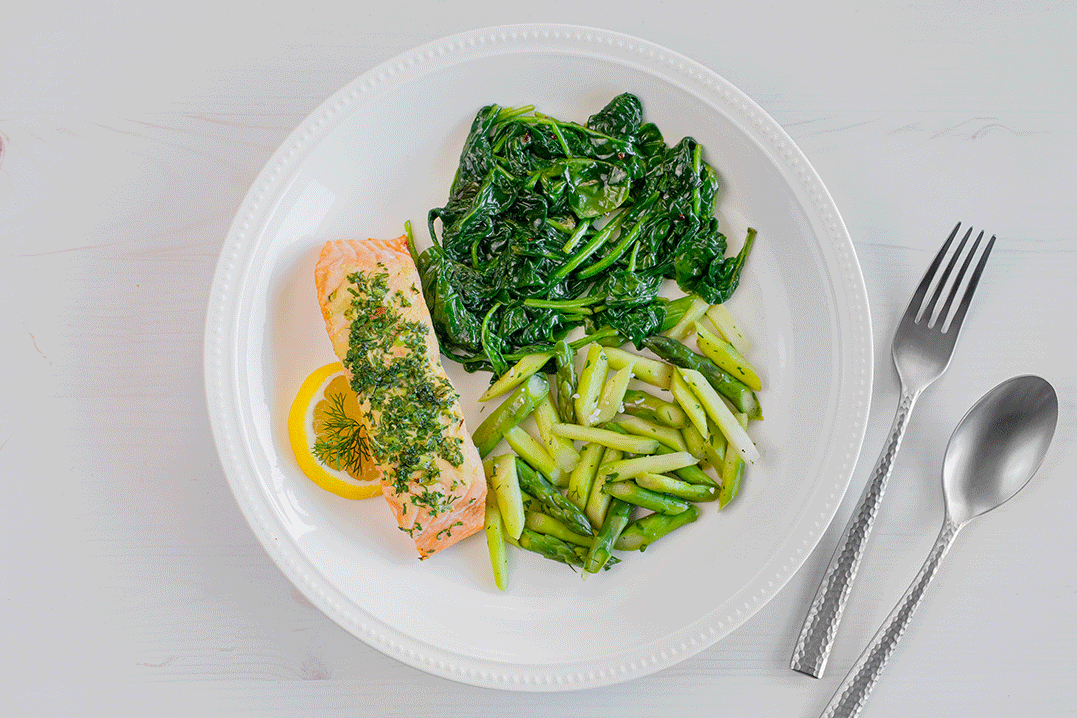 Asparagus, Herb-Roasted Salmon, Steamed Spinach