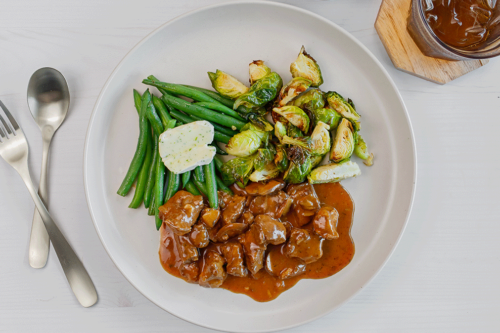 Beef Stroganoff, Green Beans, Roasted Brussels Sprouts