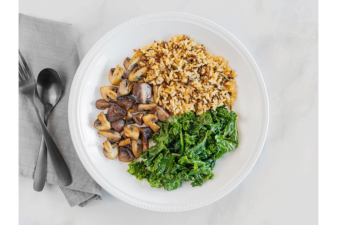 Braised Kale, Roasted Mushrooms, Wild & Brown Rice